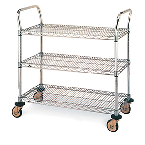 Stainless Three-Shelf Wire Utility Cart